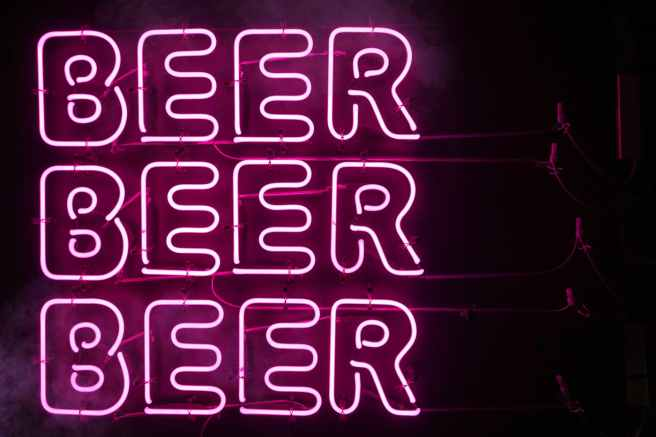 photo of beer neon signage